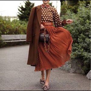 Halogen Midi Rust Polkadot Plus 2x Skirt  m0127